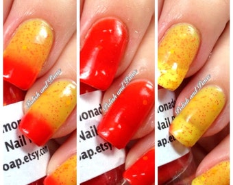 Color Changing Nail Polish - Mood Nail Polish-STRAWBERRY LEMONADE-Red to Yellow-Hand Blended Polish - 0.5 oz Full Sized Bottle