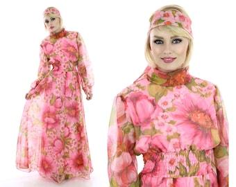 60s Hostess Dress Mod Empire Waist Pink Floral Sheer Formal Party Festival 1960s Boho Hippie Full Skirt Prom Event Small S Medium M
