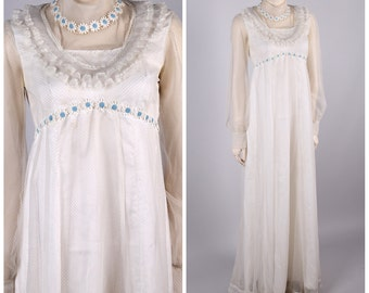 vintage 1970s wedding dress embroidered sheer swiss dot daisy chain flower child victorian revival maxi ruffle collar size small festival