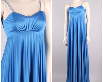 vintage 70s blue goddess gown empire waist pleated full sweep maxi disco party dress size xs small