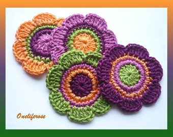 Crochet Flowers Applique 4  pieces