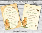 Classic Winnie the Pooh Digital Baby Shower or Birthday Party Invitation, C-606
