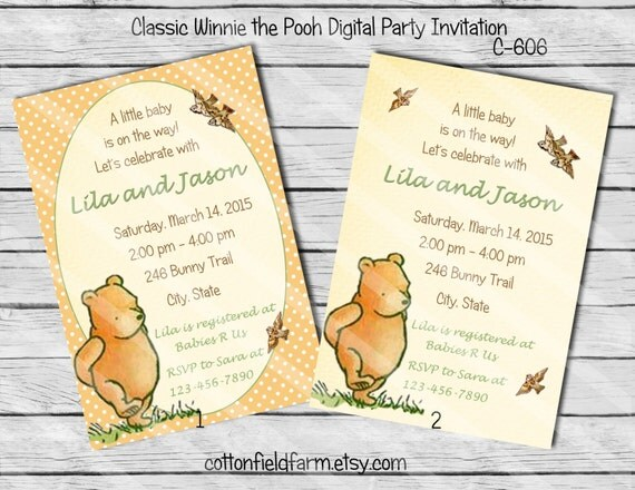 classic winnie the pooh digital baby shower or birthday party