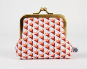 Metal frame change purse - Prism pine in blue and red - Deep mom / Soft Cactus / geometric triangle / light blue red peach white / modern