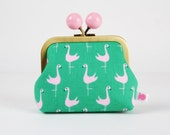 Metal frame coin purse with color bobble - Flamingoes - Color dad / Jack and Lulu / Bay breeze / Emerald green Pink black / Spring birds