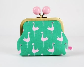 Metal frame coin purse with color bobble - Flamingos - Color dad / Jack and Lulu / Bay breeze / Green and pink