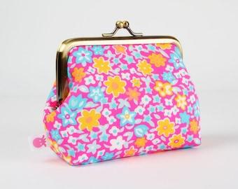 Metal frame coin purse - Fleur d'oranger rose - Deep dad / Petit Pan french fabric / Floral pattern / Neon flowers / orange pink turquoise