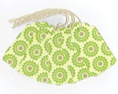 Glittered Green Flowers Gift Tags (6) PreStrung Scallop Top Hang Tags / GTL47 / Favor Bag Tags / Package Decor / Ready To Ship