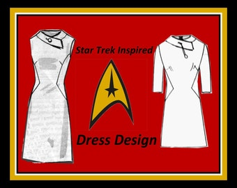 Vintage 1960s-STAR TREK Lieutenant Uhura Inspired DRESS-Mail Order Sewing Pattern-Two Styles-Mod Futuristic Design-Uncut-Size 14-Rare
