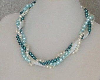 a BRIDESMAID Gift Ivory,Turquoise & Teal Pearl Twisted Braided Chunky WEDDING Brides Mother Of Bride Bridal Necklace By DYEnamite