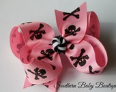 NEW----Boutique Large Hair Bow Clip or Headband----Pink Pirate