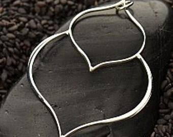 Sterling Silver Double Lotus Petal Pendant Drop, 48x36mm x1mm (18ga wire)