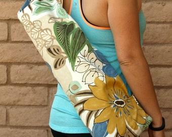 Handmade Tropical Print Yoga Mat Bag, Yoga Tote, Bag, Sling, Sac, Sack, Carrier, Gift For Her , Tropical Floral Design, PARADISE