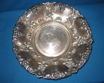 "Antique Edwardian Ornate Large 11 1/2"" Silverplate Round Tray"