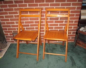 Antique Sturdy PAIR of Matching Wooden Folding Chairs