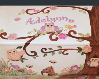 Custom Designed Owl Toy Chest  done with Monogram or Name, kids furniture, art and decor, wooden toy box