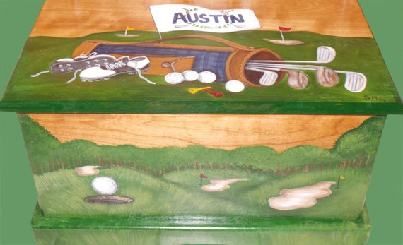 Golf themed toy chest done with Monogram or Name on lid, kids ...