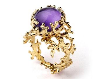 CORAL 14k Gold Amethyst Ring, Purple Amethyst Engagement Ring, Unique Engagement Ring, Amethyst Ring Gold, Organic Gold Ring
