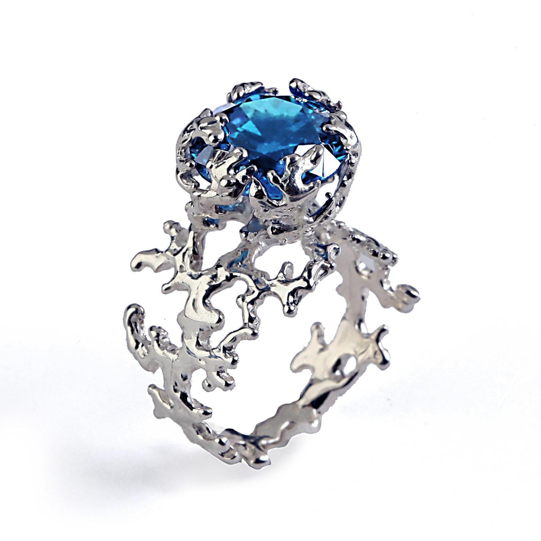 coral london blue topaz engagement ring 14k gold gemstone. Black Bedroom Furniture Sets. Home Design Ideas