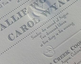 Silver Letterpress and Blind Deboss Ampersand Wedding Invitations