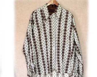 Boutique Bazaar Shirt Mens 70s Shirt Brown 50 Inch Chest