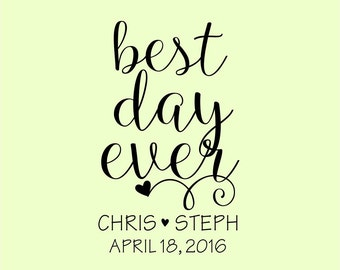 Personalized Handle mounted wedding rubber stamps Let Love Grow W45 Best Day Ever