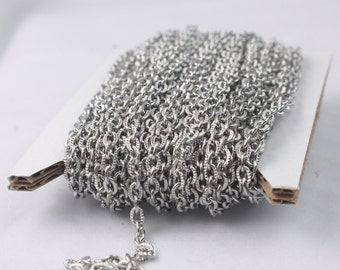 Stainless Steel chain bulk, 3 ft of Stainless Steel Textured Flat Cable Chain - 4X3mm unsoldered link