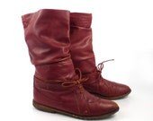 Slouch Leather Boots Vintage 1980s  Flat Rusty Red Brown Short Women's