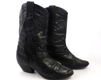 Boots Cowboy Laredo Vintage 1980s Black Leather Laredo Boots Women's  size 5 1/2