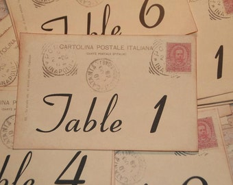 Wedding Table Number Cards, Italian Wedding Vintage Postcard Style, Table Cards, Quantity 20