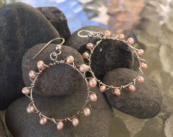 Peach Pearl Wrapped Hoop Earrings