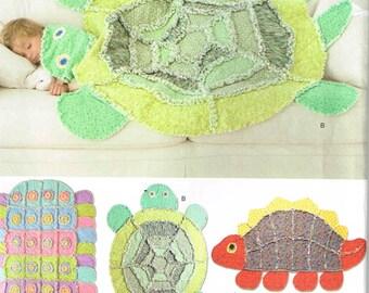 Turtle Fleece Blanket Rag Throw Quilt, Dinosaur, Caterpiller Simplicity 2493 Sewing Pattern Rag Rug
