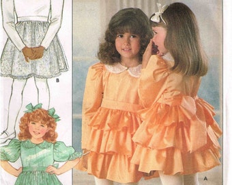 Little Girls Ruffled Dress Sewing Pattern Dirndl Skirt Fitted Bodice Butterick 5963  Children Size  5 6 6x