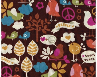 1/2 Yard Cut Brown Bird Peace Signs Birdie Leaves Cotton Fabric for Sewing Crafts .5 Yd Browns Orange Pink