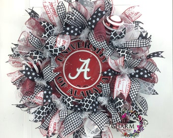 Deco Mesh University of Alabama Wreath -Roll Tide Wreath -Bama Wreath -Alabama Decor -Gameday Decor -College Decor