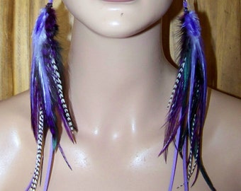 Extra Long Feather Earrings, Long Feather Earrings, Purple long Feather Earrings, Purple Earrings, Skinny Feathers, Feathers, Purple Earring