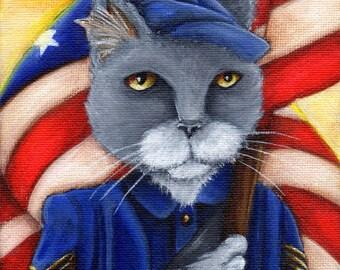 Union Flag American Civil War Cat Soldier 8x10 Art Print ON SALE