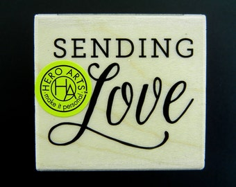 Hero Arts SENDING LOVE Wood Mount Rubber Stamp