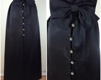 Vintage 1950s Black Sateen Skirt - Accent Bow - Rhinestone Buttons - Elinor Gay - High Waist