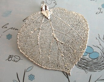 "Shop Sale .. Genuine Real ASPEN Leaf Pendant Charm, Aspen Leaf Dipped in Sterling Silver or 24k Gold, 1.5-2+"", LARGE, solo"