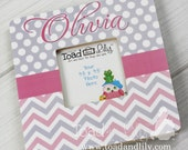 Pink and Grey Chevron Girls Personalized Photo PICTURE FRAME for Kids Bedroom Baby Nursery PF0054