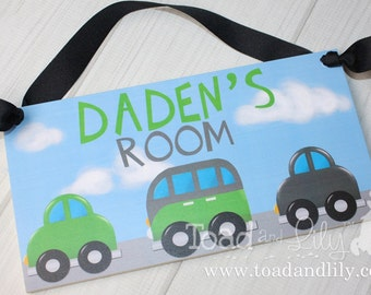 Beep Beep Vehicle - Cars Green Turquoise and Grey Transportation Boys Bedroom Baby Nursery Kids Bedroom DOOR SIGN Wall Art DS0278
