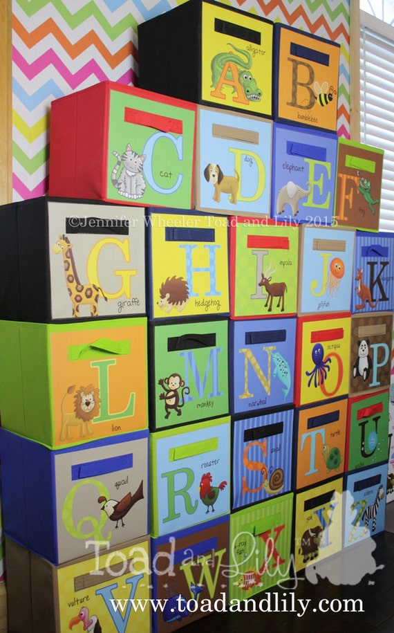 26 Alphabet Storage Bins Fabric Bins Kid's Bedroom Playroom Nursery Organizer for Toys or Clothing Great for Schools and Play Groups 0FB003