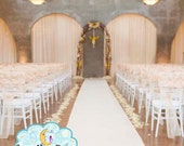 Aisle Runner, Wedding Aisle Runner, *CLEARANCE* Ivory 15 Feet Long Quality SAFETY GRIP (non slip) Fabric that Won't Rip or Tear
