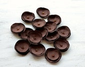 Fabric flower appliques, flower appliques, flowers for crafts, floral embellishments, brown crepe flowers (15pcs)- DARK CHOCOLATE BLOSSOMS