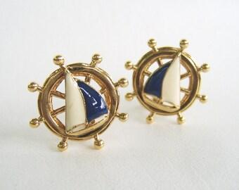Vintage Nautical Sailboat Avon Earrings Clip On Navy Blue Ships Wheel
