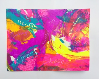 Abstract acrylic and oil painting in rainbow colors, original artwork, 5 x 9 inches on paper canvas flat