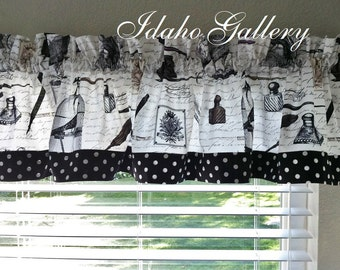 Edgar Allan Poe Nevermore Crow Cage Pen Black White with Dot Trim Little Kitchen Curtain