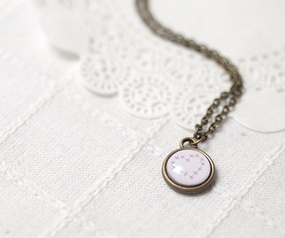 Tiny Heart necklace - Heart jewelry for her - tiny necklace - dainty necklace - Vintage style necklace - Cross embroidery Heart (N052)