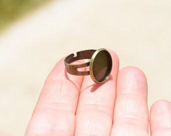5 Antique Bronze Adjustable Ring Blanks F255